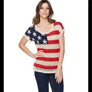 NWOT Colleen Lopez Stars & Stripes Flag Sweater