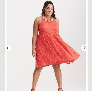 Torrid Lace High Neck Skater Dress 24 3X