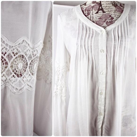 ec85d84f0dfe8d caren forbes Tops - Caren Forbes White Peasant BOHO Blouse Long Sleeve