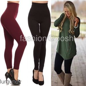 Pants - One Size OS high waist fleece lined leggings New