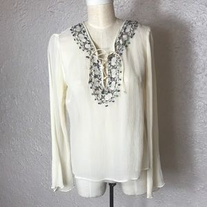 Boho Cream/white crinkle silk with lace up top