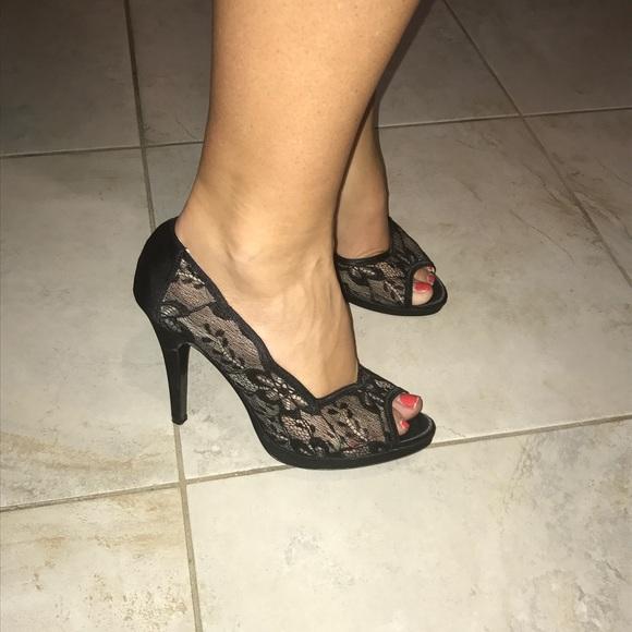 Lulu Townsend Shoes - Black lace heels