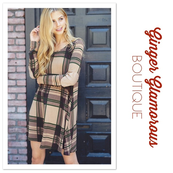 Dresses & Skirts - ONLY 2 LEFT! Plaid Knit Swing Dress