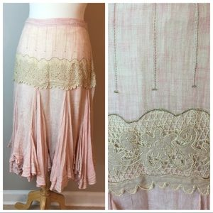 Romantic midi Linen ODILLE skirt