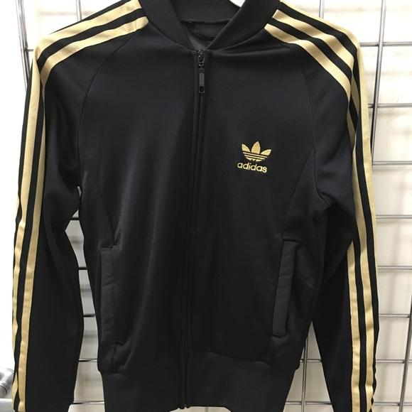 adidas superstar jacket gold