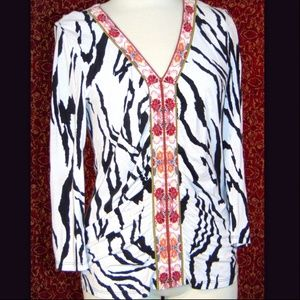 LYNN RITCHIE white animal long sleeve blouse S