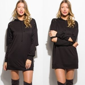 Cut out Hoodie Tunic Top/Dress - BLACK