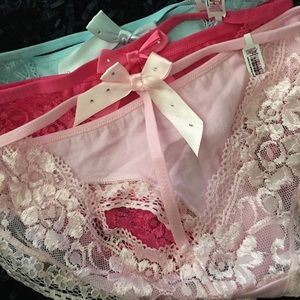 Other - SET OF 3 COTTON STONED BOW CUTOUT PANTIES O/S NWT