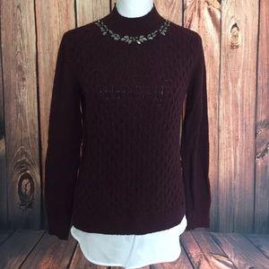 Vera Wang Jewel Collared layered sweater