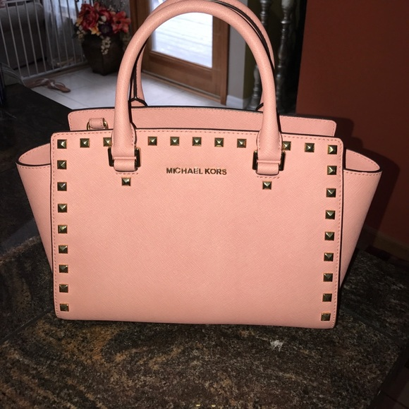 3017515379 KORS Michael Kors Handbags - Michael Kors Selma Stud pink purse with gold  studs