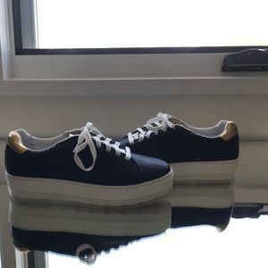 Diesel Scaled Leather Black Sneakers w/ Gold S6.5 for sale