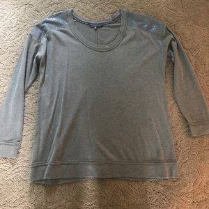 Long sleeve shirt w/ sequined shoulders