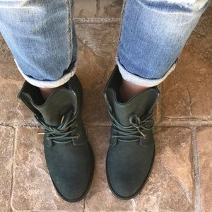 Teal Lace Up Combat Boots