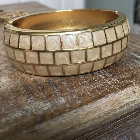 $5 clean out sale! Ivory and gold cuff bracelet