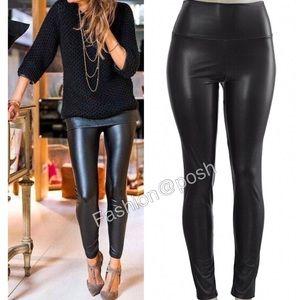 Pants - Black leather leggings pants faux lined high waist