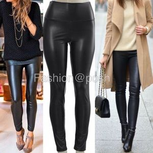 Pants - Faux leather leggings high waisted pants LINED