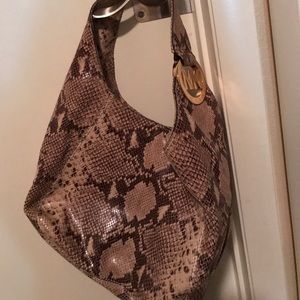 Like new Michael Kors  python print leather hobo