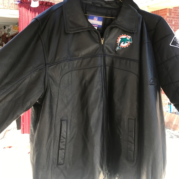 brand new 22a60 0923b XL Official NFL Dolphin Reebok leather jacket