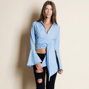 EMSLEY Bell Sleeve Button Down Top  - L. BLUE