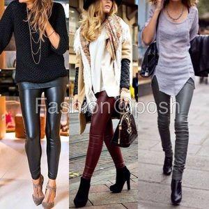 Pants - Black leather leggings faux lined high waist S-XL