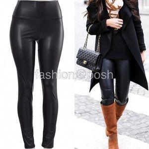 Pants - Black high waist faux leather leggings lined S-XL