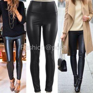 Pants - Black faux leather leather fleece lined high waist