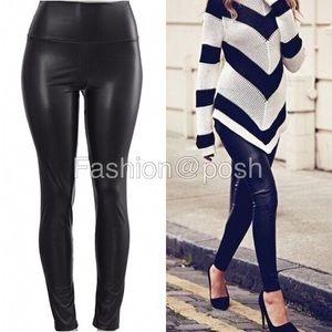 Pants - Black faux Leather leggings high waist lined S-XL