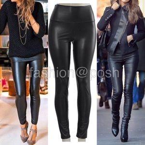 Pants - leather leggings faux lined high waist BLACK S-XL