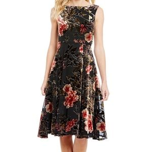 Betsey Johnson Dress VELVET BURNOUT Floral DRESS