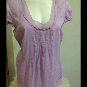 J Jill Light Lilac Purple Ruffle Blouse Top Sz 16