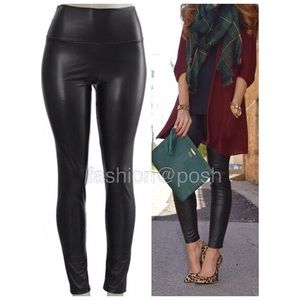 Pants - black faux leather leggings fleece lined S-XL