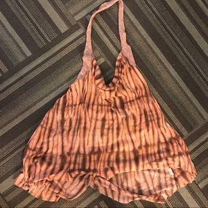 Free People Orange and Brown Tie Dye Halter Top