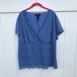 Lane Bryant women's 18/20 short sleeve blouse blue