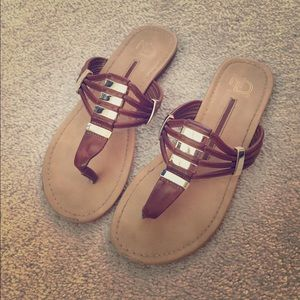 Shoes - Brown and Gold sandals