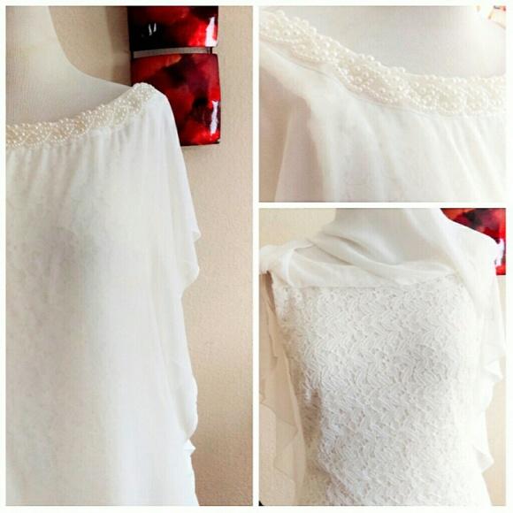 Studio One Dresses - Off White Lace Cape Dress