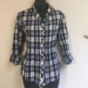 Trendy Plaid Button Down Shirt Medium