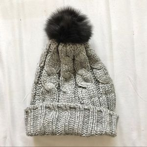 Accessories - Fur Pom Pom Silver Beanie