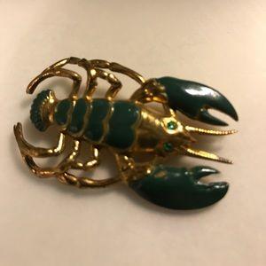 Jewelry - 1940's Vintage Enamel Lobsta Pin
