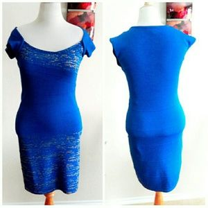 XOXO Dresses - Blue & Gold Knit Bodycon