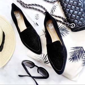 LAST 1! Black Suede Laser Cut Pointed Toe Flats