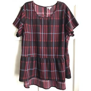 Plaid Hi-Lo Peplum Top