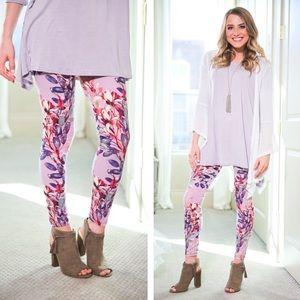 Pants - Dusty Pink Floral Leggings