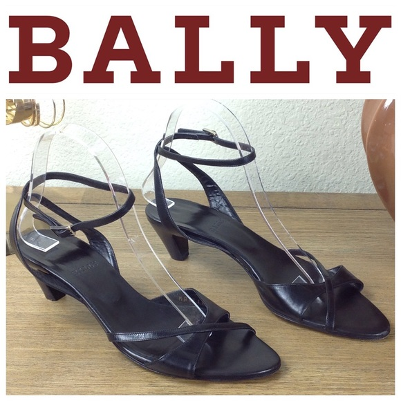 4a9f18939dfa Bally Shoes - Bally Black Leather Kitten Heel Ankle Strap Sandal