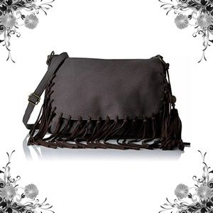 Handbags - Boho Chic Dark Brown Fringed Crossbody Bag