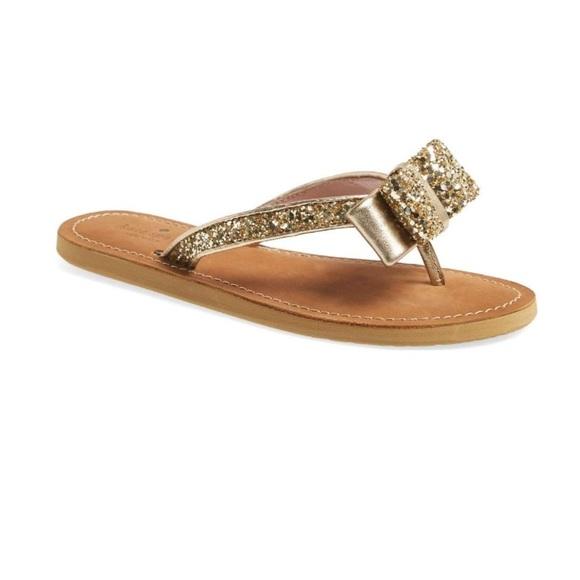 05bf32428cd4 kate spade Shoes - Kate Spade Icarda flip flops in gold glitter