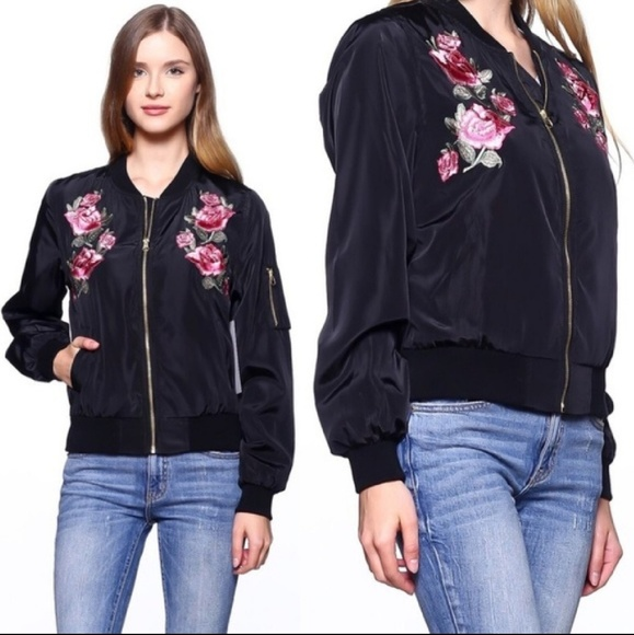 Jackets & Blazers - Say What? Floral Embroidered Satin Bomber Jacket
