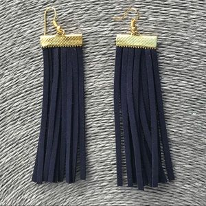 New Faux Suede Tassel Earrings Navy and Gold