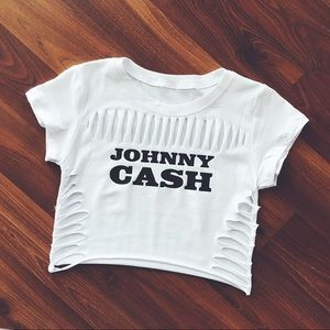 Tops - Johnny Cash cut-out shirt