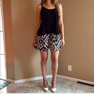 Pants - High Waisted Aztec Shorts