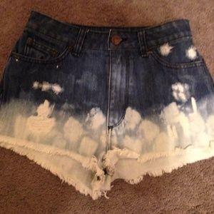 BDG high rise cheeky dip dyed high waisted shorts